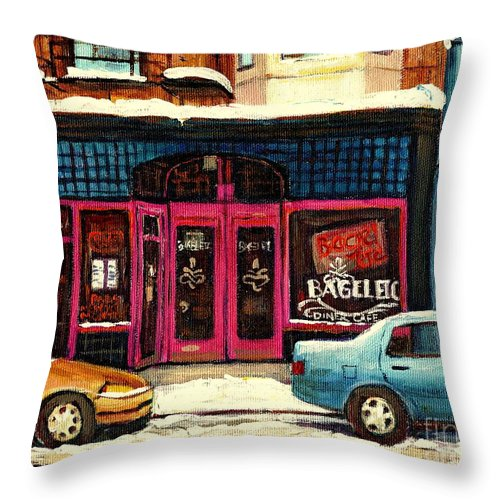 Bagels Etc.montreal Throw Pillow featuring the painting Bagels Etc Montreal by Carole Spandau