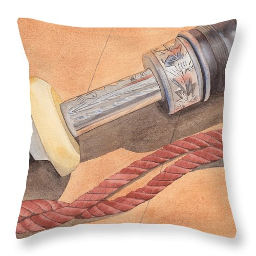 Bag Throw Pillow featuring the painting Bagpipe Drone by Ken Powers