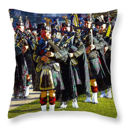 Art Throw Pillow featuring the painting Bagpipes by David Lee Thompson