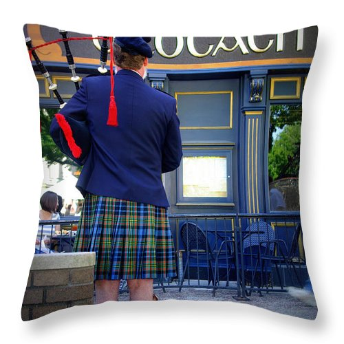 Irish Throw Pillow featuring the photograph Bagpipes by Linda Mishler