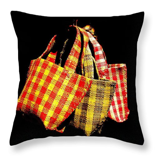 Bags Throw Pillow featuring the photograph Bags On The Loose by Funkpix Photo Hunter