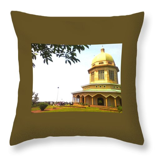 Baha'i Throw Pillow featuring the photograph Baha'i Temple Of Uganda by Aly Dieaaeldeen