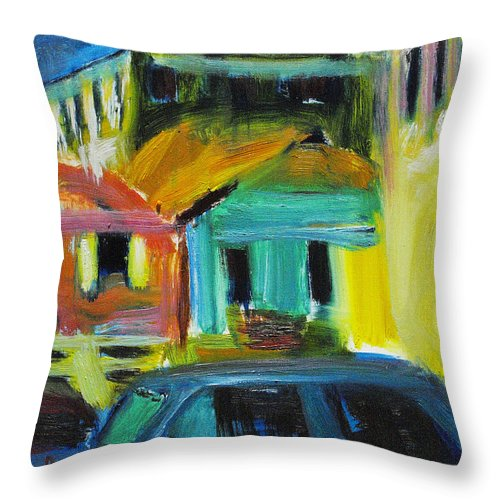 Dornberg Throw Pillow featuring the painting Bahamas Buildings by Bob Dornberg