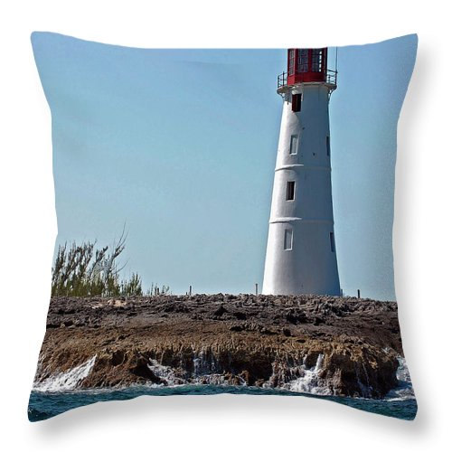 Ocean Throw Pillow featuring the digital art Bahamas Lighthouse by DigiArt Diaries by Vicky B Fuller