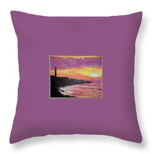 Seascape Throw Pillow featuring the painting Bahia At Sunset by Marco Morales