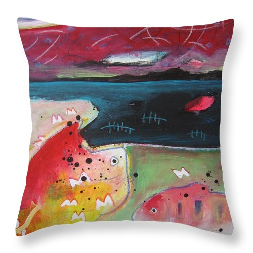 Acrylic Paintings Throw Pillow featuring the painting Baieverte by Seon-Jeong Kim