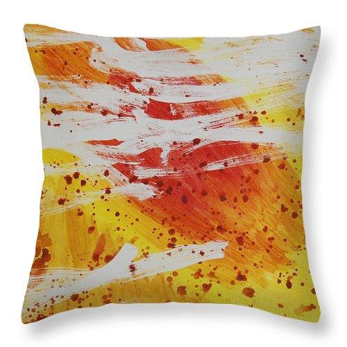 Abstract Throw Pillow featuring the painting Bailando en El Sol by Lauren Luna