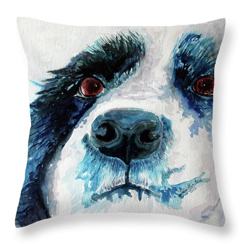 Border Collie Throw Pillow featuring the painting Bailey Our Border Collie by LeAnna Beck