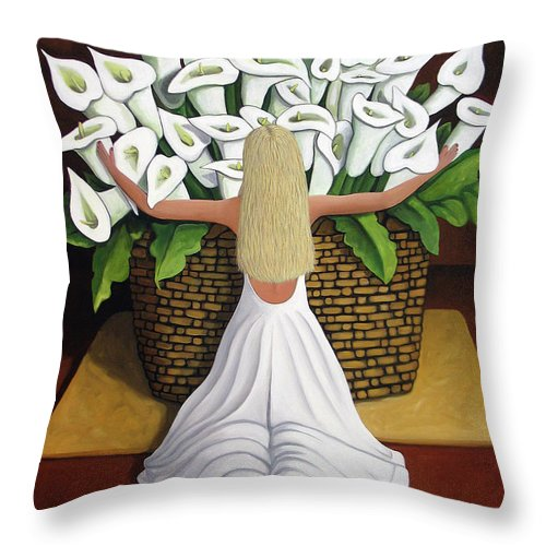 Garden Throw Pillow featuring the painting Baileyrae Lilies by Lance Headlee