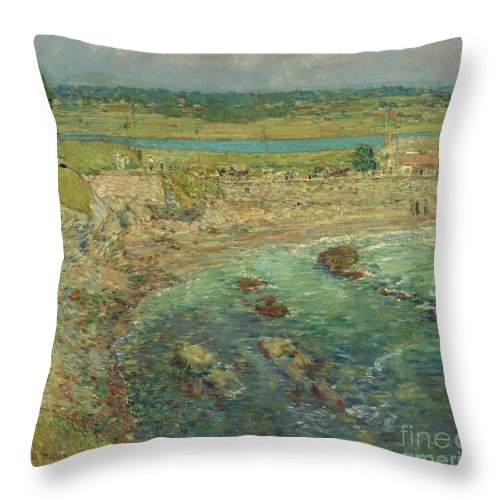 Hassam Throw Pillow featuring the painting Bailey's Beach Newport Rhode Island by Childe Hassam