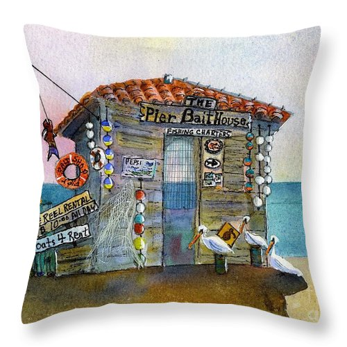 Bait-house Throw Pillow featuring the painting Bait House by Midge Pippel