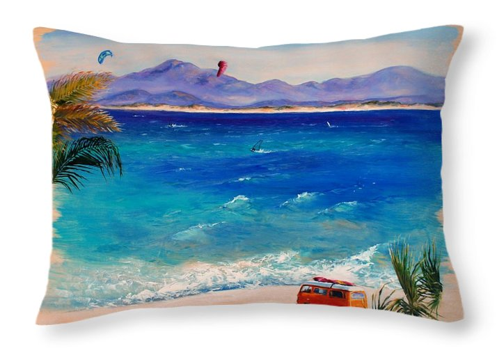 Landscape Throw Pillow featuring the painting Baja Safari by Lynee Sapere