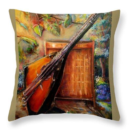 Balalaika Throw Pillow featuring the painting Balalaika Awaiting  by Bernadette Krupa