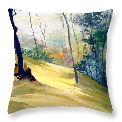 Landscape Throw Pillow featuring the painting Balance by Anil Nene