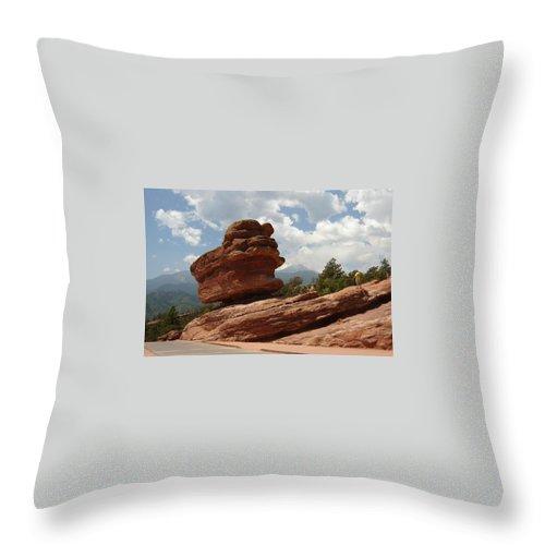 Colorado Throw Pillow featuring the photograph Balance Rock by Anita Burgermeister