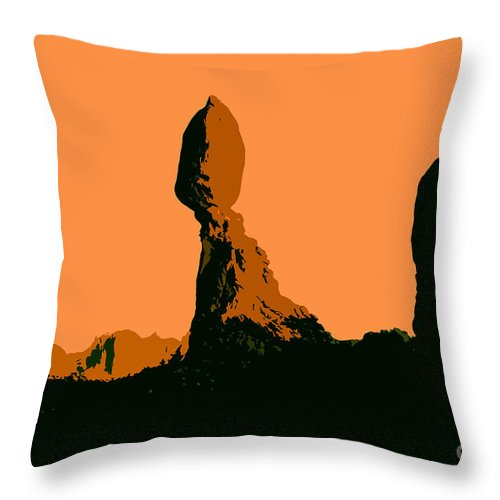 Balance Rock Throw Pillow featuring the painting Balance Rock by David Lee Thompson