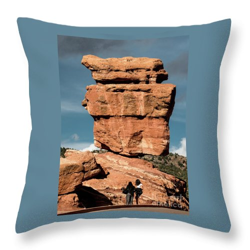 Balanced Rock Throw Pillow featuring the photograph Balanced Rock At Garden Of The Gods by Jennifer Mitchell