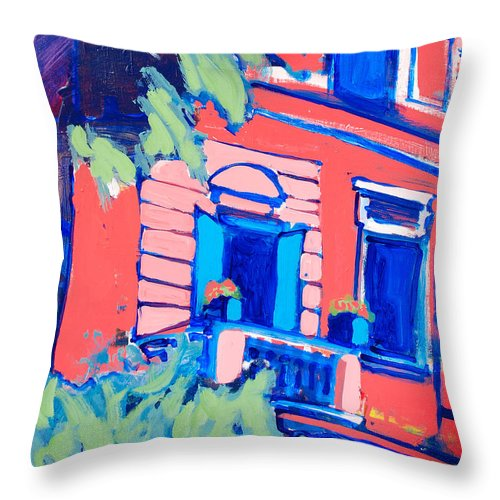 Balcony Throw Pillow featuring the painting Balcone by Kurt Hausmann