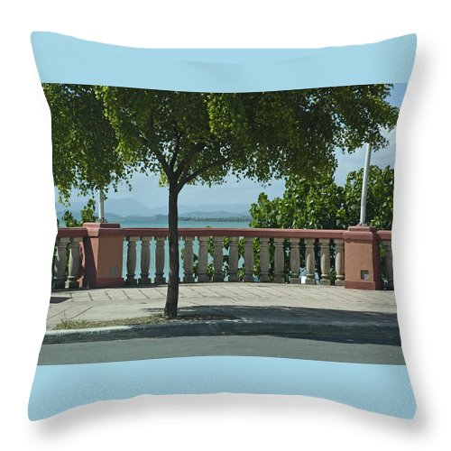 Landscape Throw Pillow featuring the photograph Balcony On The Beach In Naguabo Puerto Rico by Tito Santiago