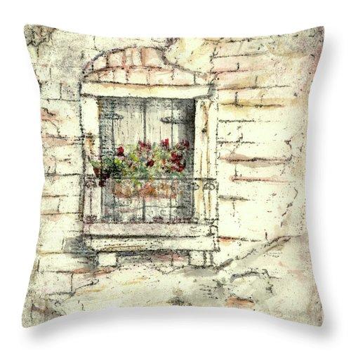 Venice Throw Pillow featuring the painting Balcony Venice by Richard Bulman