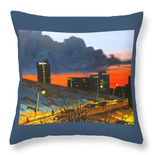 Sunset Throw Pillow featuring the painting Balcony View 2 by John Malone