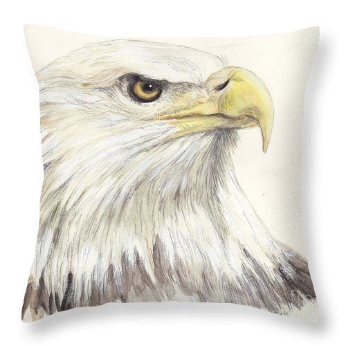 Bald Throw Pillow featuring the painting Bald Eagle by Morgan Fitzsimons
