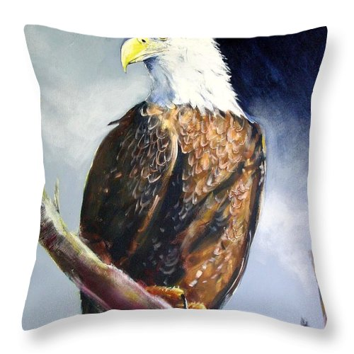 Wildlife Throw Pillow featuring the painting Bald Eagle by Paul Miller