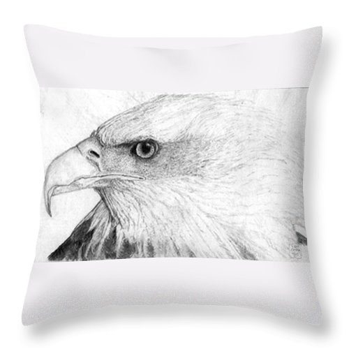 Pencil Drawing Throw Pillow featuring the drawing Bald Eagle Profile by Lucien Van Oosten