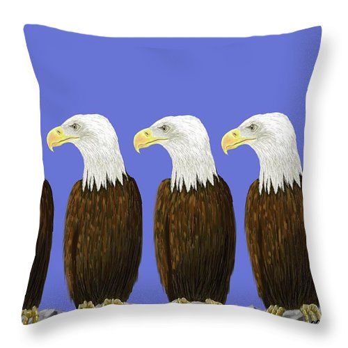 American Throw Pillow featuring the digital art Bald Eagles by Stacy C Bottoms