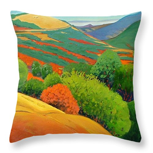California Landscape Throw Pillow featuring the painting Bald Hill by Gary Coleman