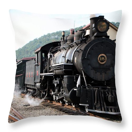 Locomotive Throw Pillow featuring the photograph Baldwin Locomotive Number Fifteen by Rebecca Smith
