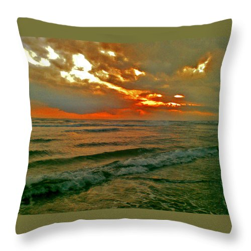 Bali Throw Pillow featuring the digital art Bali Evening Sky by Mark Sellers