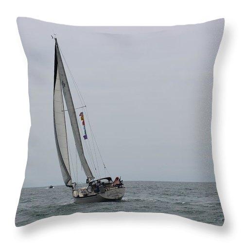 Sailing Throw Pillow featuring the photograph Bali Hai, Aug., 2014, Moss Landing II by Larry Daeumler