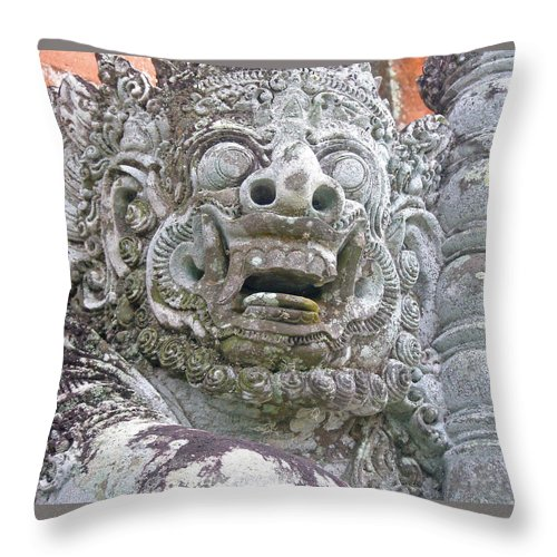 Bali Throw Pillow featuring the digital art Balinese Temple Guardian by Mark Sellers