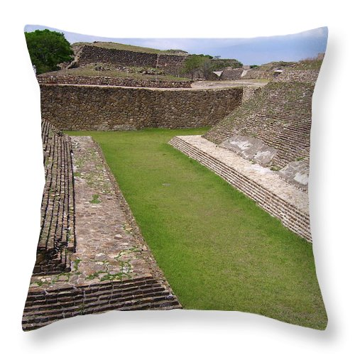 Monte Alban Throw Pillow featuring the photograph Ball Court by Michael Peychich