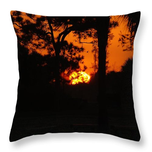 Landscape Throw Pillow featuring the photograph Ball Of Fire by Rob Hans