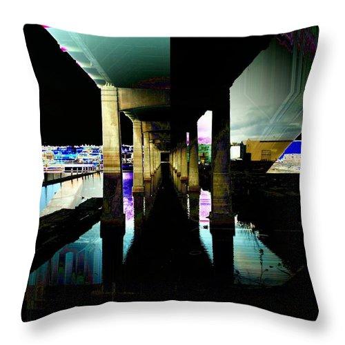 Seattle Throw Pillow featuring the digital art Ballard Bridge by Tim Allen
