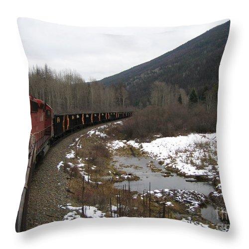 Photograph Train Mountain Snow Winter Tree Nature Throw Pillow featuring the photograph Ballast Train by Seon-Jeong Kim