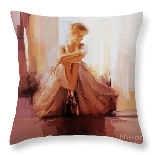 Ballerina Throw Pillow featuring the painting Ballerina Dancer Sitting On The Floor 01 by Gull G