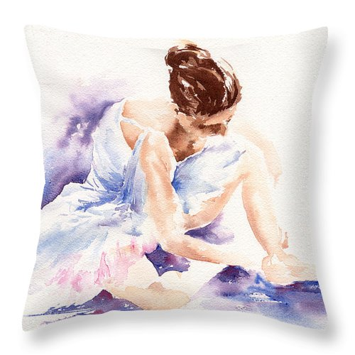 Ballerina Throw Pillow featuring the painting Ballerina by Stephie Butler