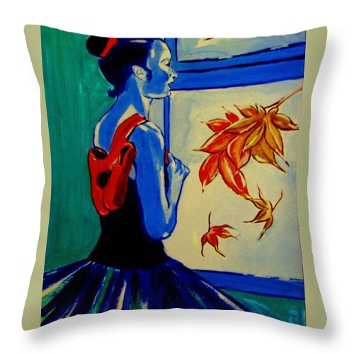 Classical Dancers Throw Pillow featuring the painting Ballerine En Automne by Rusty Gladdish
