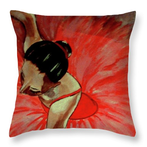 France Throw Pillow featuring the painting Ballerine Rouge by Rusty Gladdish