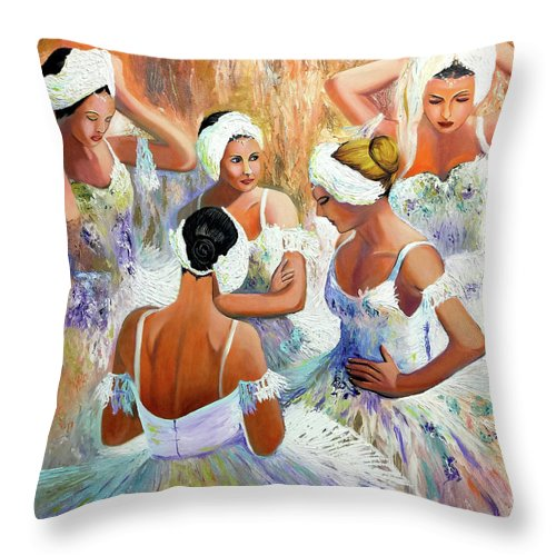 Ballet Throw Pillow featuring the painting Ballernia 4 by Jose Manuel Abraham