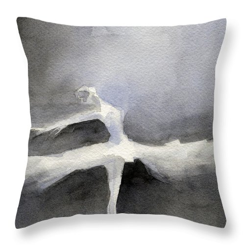 Ballet Throw Pillow featuring the painting Ballet Dancer in White Tutu Watercolor Paintings of Dance by Beverly Brown Prints