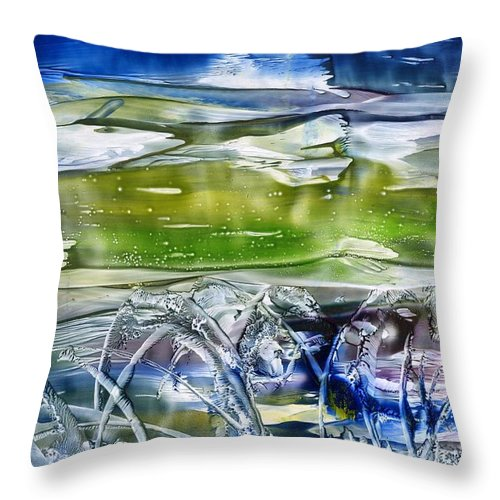 Sea Weed Throw Pillow featuring the painting Ballet In The Sea by Eileen Fong