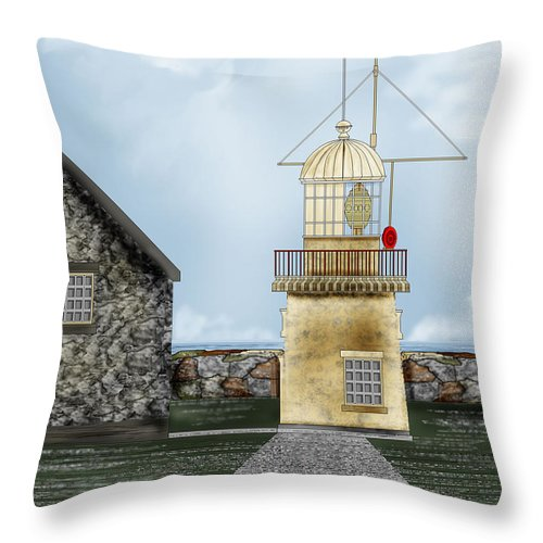 Lighthouse Throw Pillow featuring the painting Ballinacourty Lighthouse At Waterford Ireland by Anne Norskog