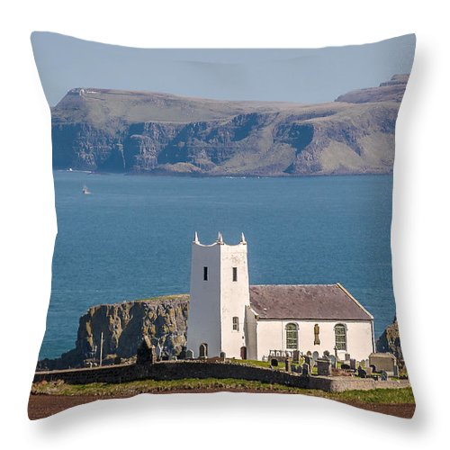 Sea Throw Pillow featuring the photograph Ballintoy by Liam Mcclean