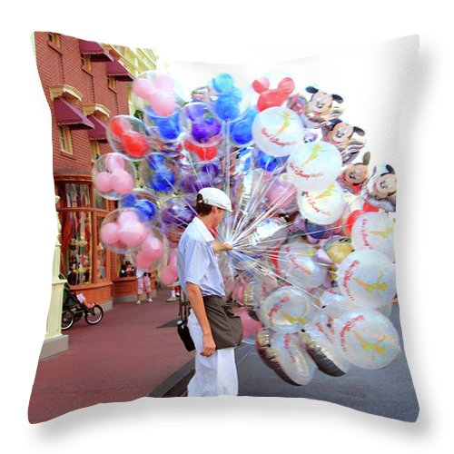 Balloons Throw Pillow featuring the photograph Balloon Boy by Mary Haber
