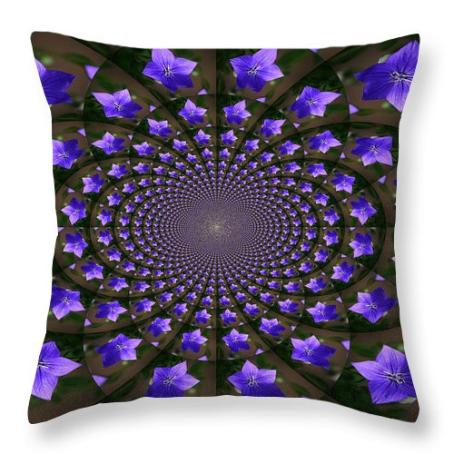 Balloon Flower Throw Pillow featuring the photograph Balloon Flower Kaleidoscope by Teresa Mucha