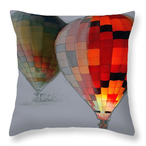 Balloon Throw Pillow featuring the photograph Balloon Glow by Sharon Foster